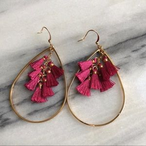 Jewelry - Teardrop tassel earrings pink and gold tone NWT